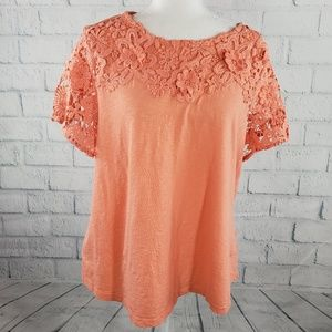 Charter Club - peach floral short sleeves top